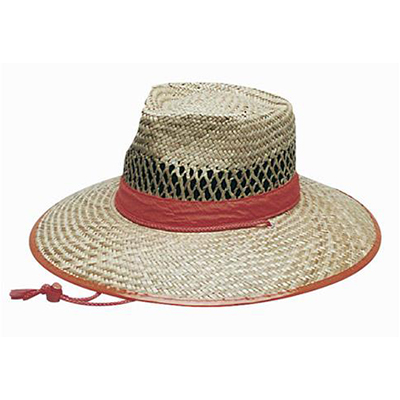 Custom Natural Straw Orange Trim Hats in Perth