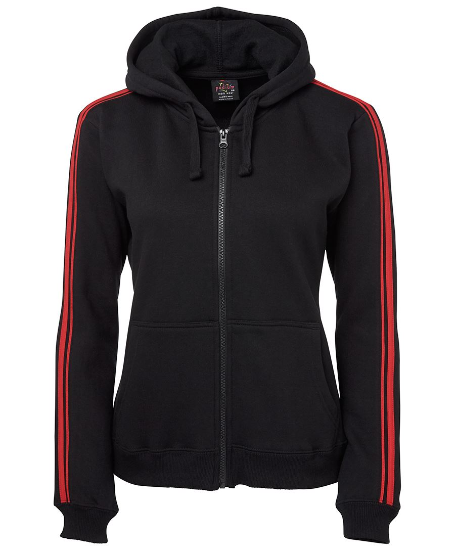 Custom Black-Red PDM Ladies p/c dual Stripe f/zip Hoodie in Perth