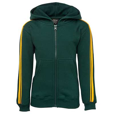 Custom Green PDM P/C Dual Stripe f/zip Hoodie in Perth