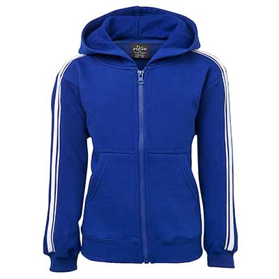 Custom Made Blue PDM P/C Dual Stripe f/zip Hoodie in Perth