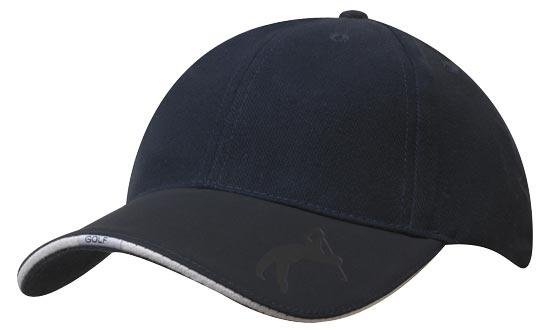 Bags Headwears Golf Caps Brushed Heavy Cotton with Embossed Pu Golf Peak - 4022 Perth Australia