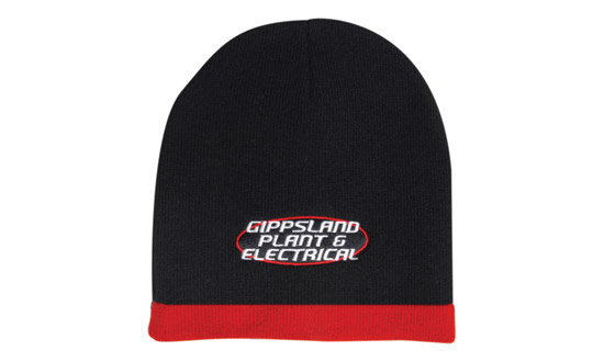 Promotional Corparate Custom Printed Bags Headwears BEANIES Roll Down Two Tone Acrylic Beanie - 4188 Perth Australia
