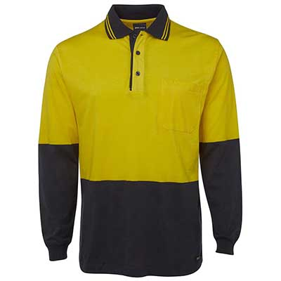 Promotional Corparate Custom Printed Apparels HI VIS Tradewear POLOS Adults HI VIS L/S COTTON POLO - 6CPHL Perth Australia