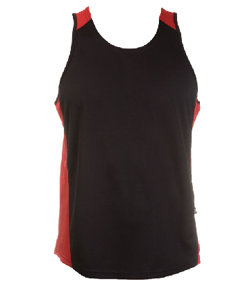 Custom Made Black Red OC Mens Basketball Singlets in Perth