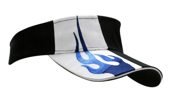 Brushed Heavy Cotton Visor with Sandwich Trim & Flame & Custom Visors in Perth
