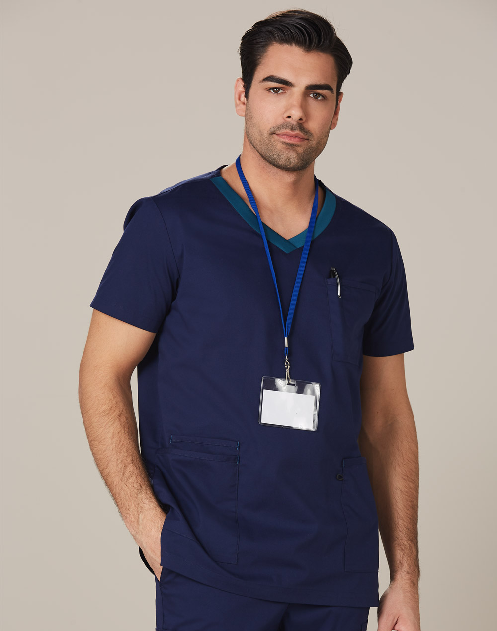Buy Mens v-Neck Contrast Trim Scrub Tops in Perth