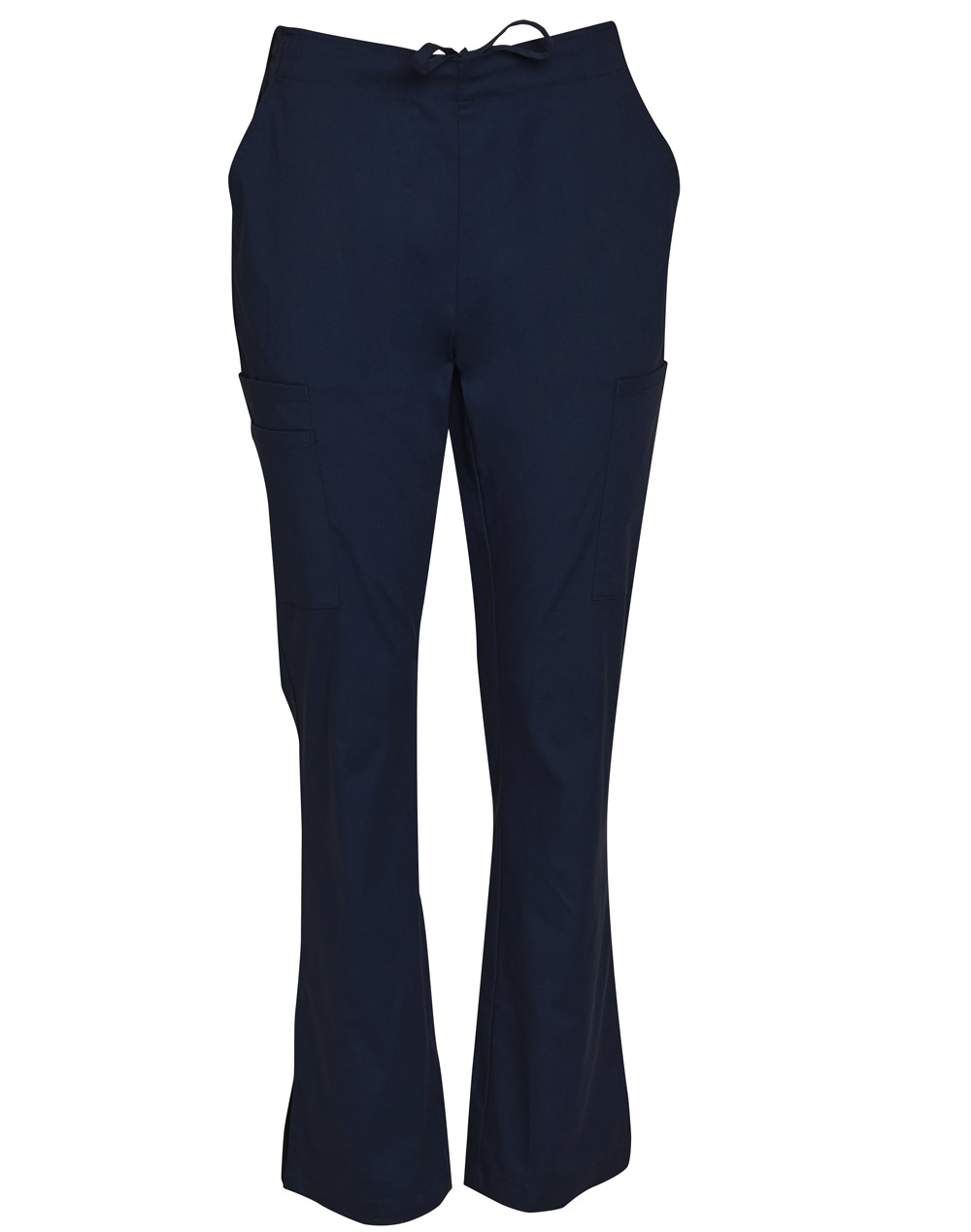 Buy Navy Ladies Semi-Elastic Waist Tie Solid Colour Scrub Pants Online in Perth