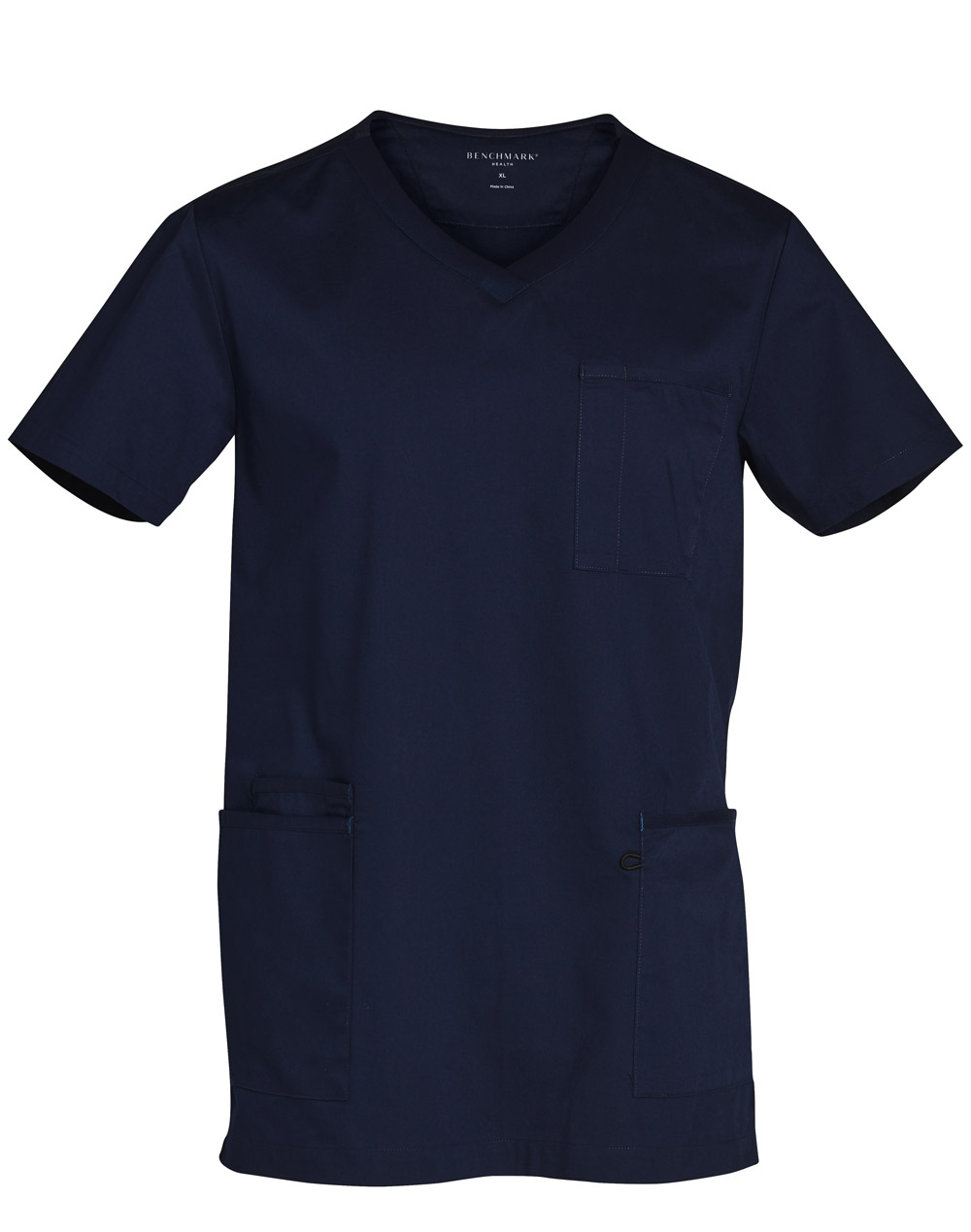 Buy Navy Mens v-Neck Contrast Trim Scrub Tops Online in Perth