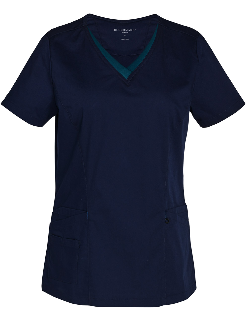 Buy Navy-Teal Ladies v-Neck Contrast Trim Scrub Top Online in Perth