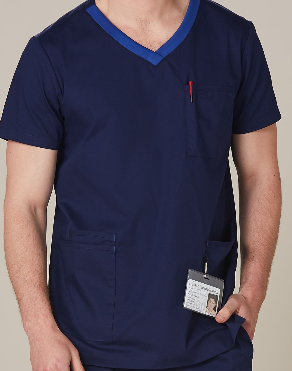 Buy Online Mens v-Neck Contrast Trim Scrub Tops in Australia