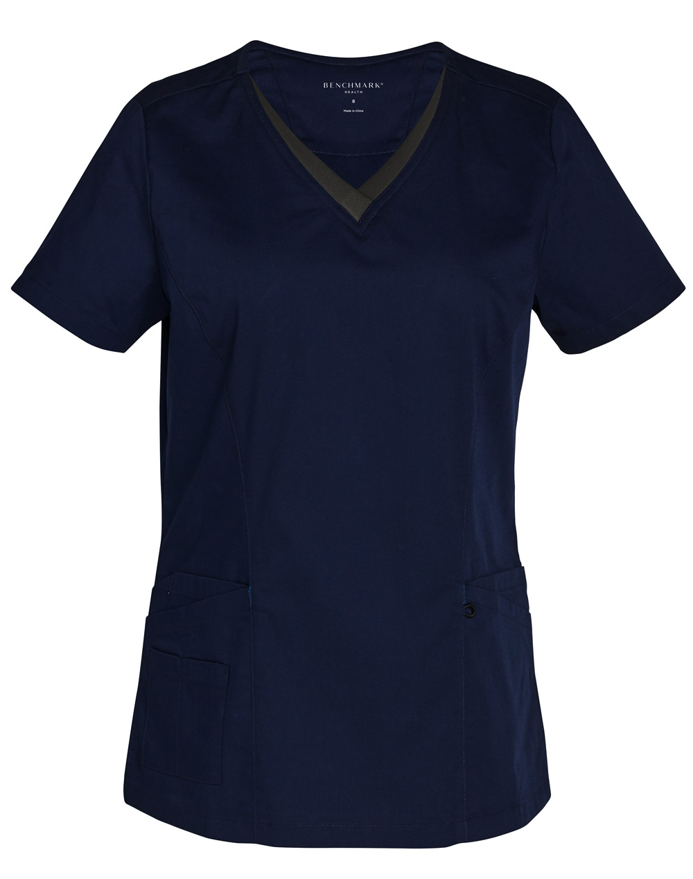 Buy Online Navy-Charcoal Ladies v-Neck Contrast Trim Scrub Top in Australia