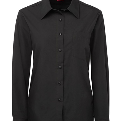 Custom Black Ladies L/S Poplin Shirts in Perth