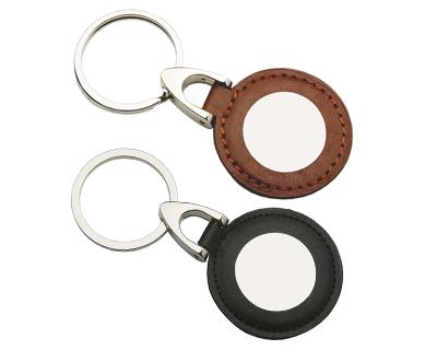 Custom Made Leather & Metal Circle Keyrings in Perth