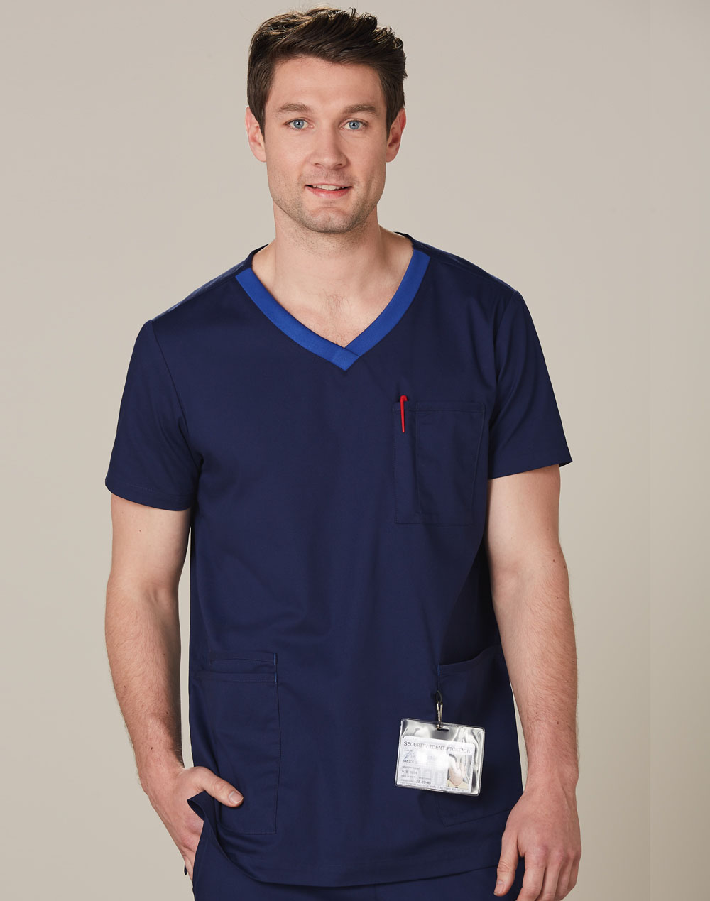 Get Mens v-Neck Contrast Trim Scrub Tops Online in Perth