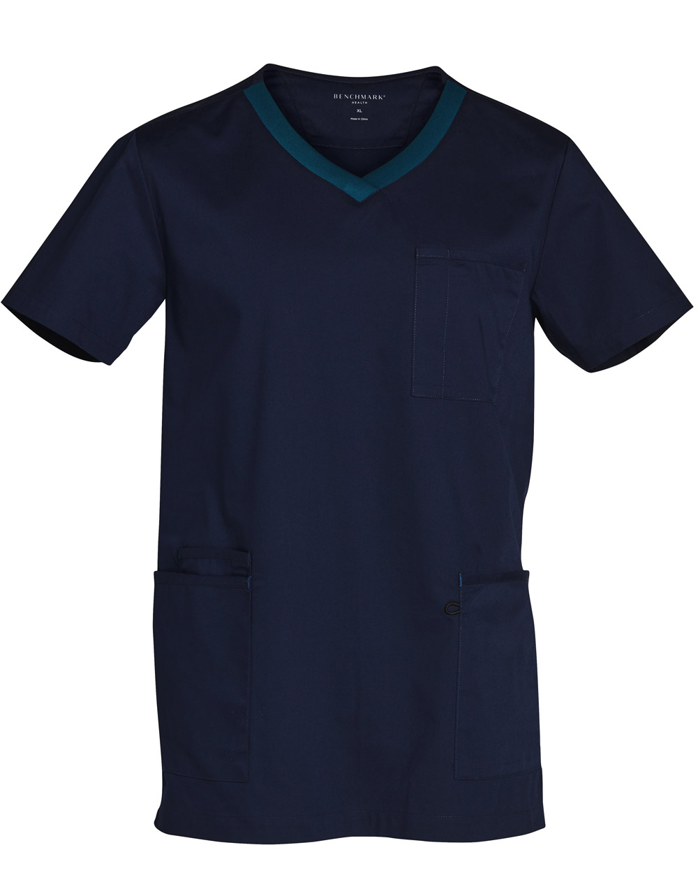 Get Navy-Teal Mens v-Neck Contrast Trim Scrub Tops in Australia