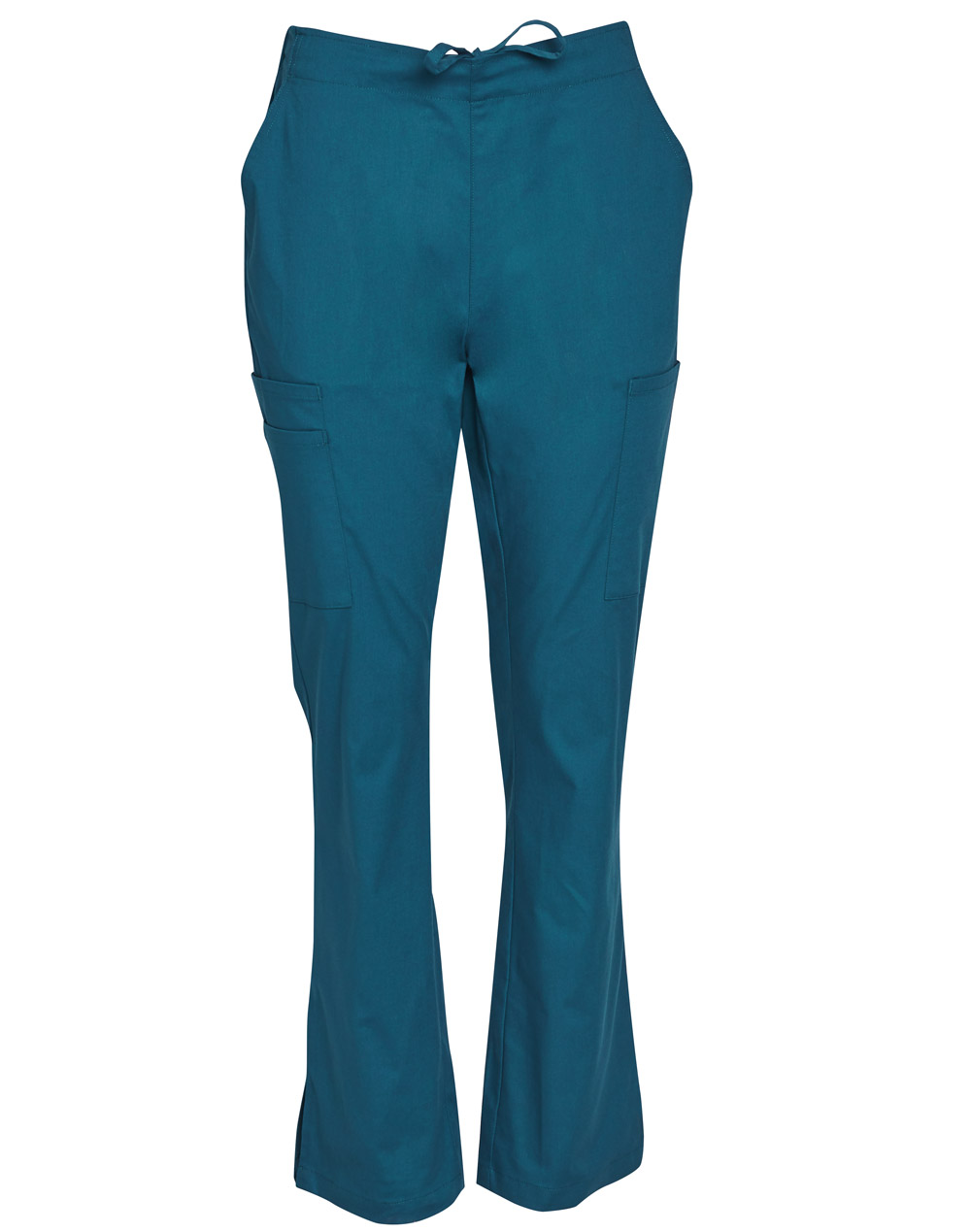 Get Teal Ladies Semi-Elastic Waist Tie Solid Colour Scrub Pants in Australia