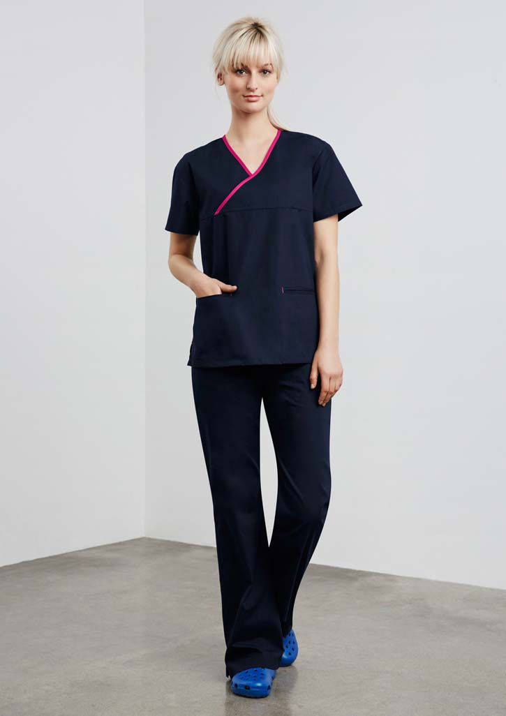 Ladies Contrast Crossover Scrubs Top and Medical Scrubs Online in Perth