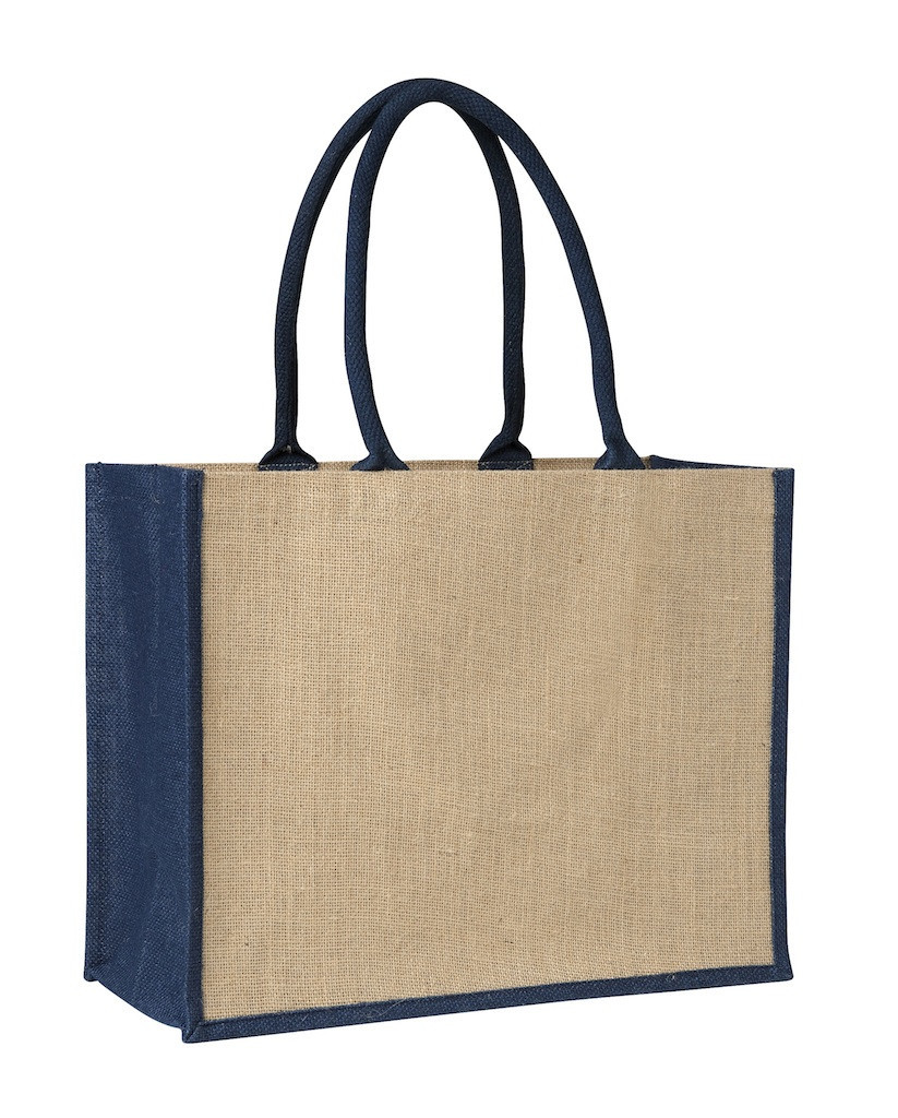 Custom Laminated Jute Supermarket Bag with Blue Handles and Gussets in Perth, Australia