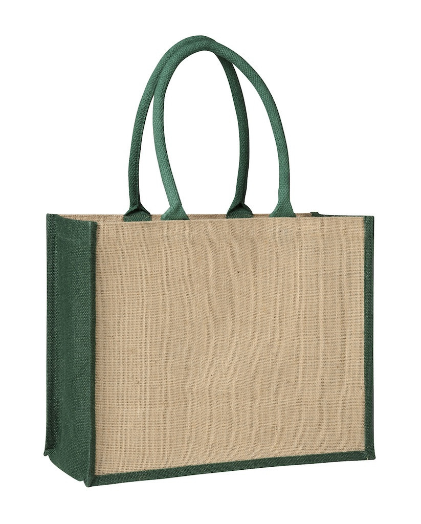 Promotional Laminated Jute Supermarket Bag with Black Handles and Gussets Contrast Green in Perth, Australia