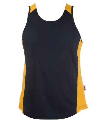 Buy Promotional Navy Gold OC Mens Basketball Singlets in Australia