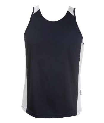 Promotional Printed Navy White OC Mens Basketball Singlets in Australia