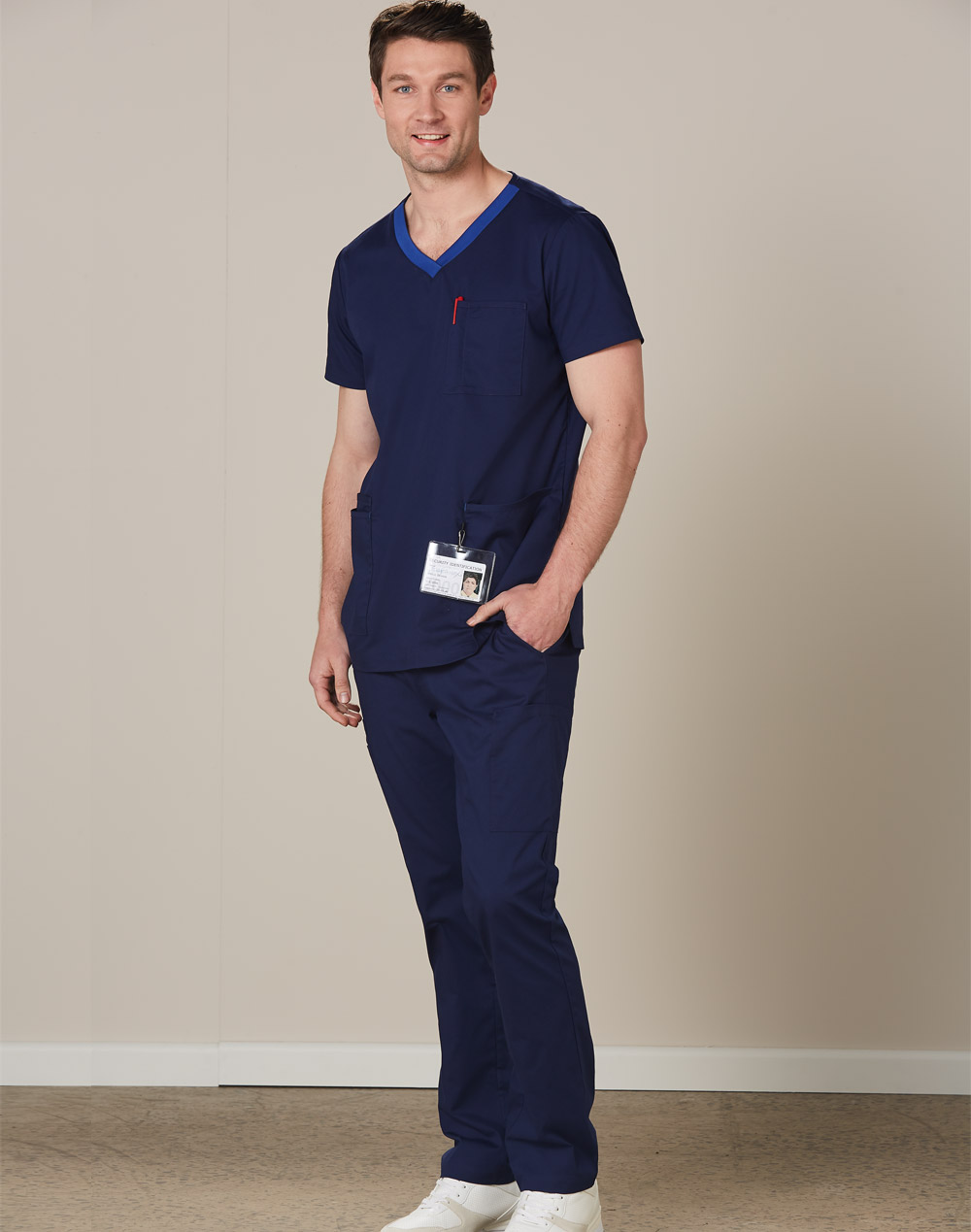 Order Mens v-Neck Contrast Trim Scrub Tops in Australia