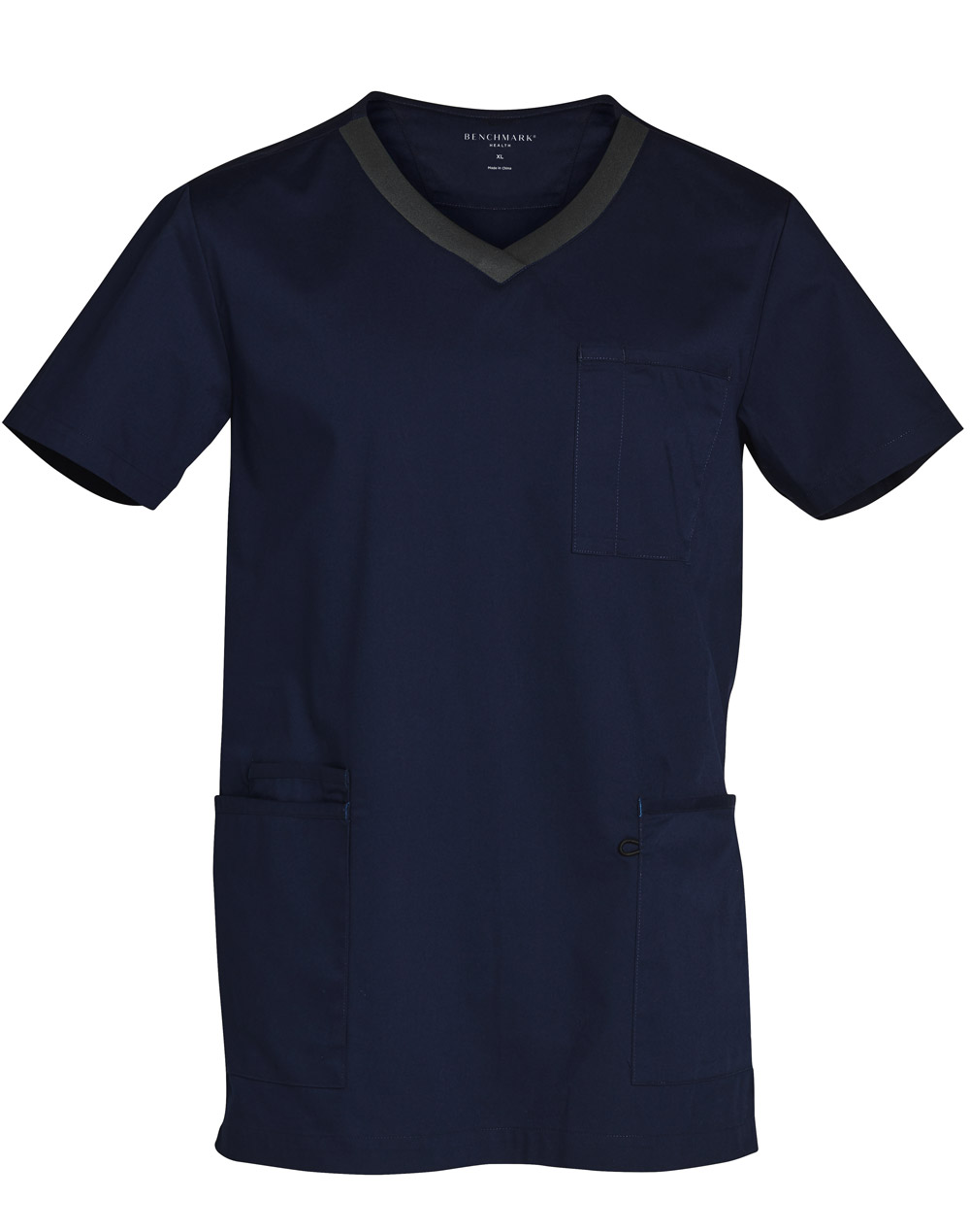 Order Online Navy-Charcoal Mens v-Neck Contrast Trim Scrub Tops in Perth