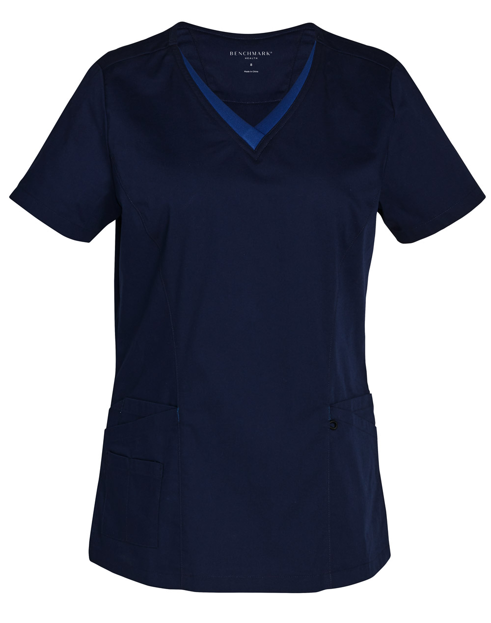 Order Online Navy-Royal Ladies v-Neck Contrast Trim Scrub Top in Perth