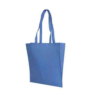 Personalised Blue Non Woven Tote Bag V Gusset in Perth, Australia