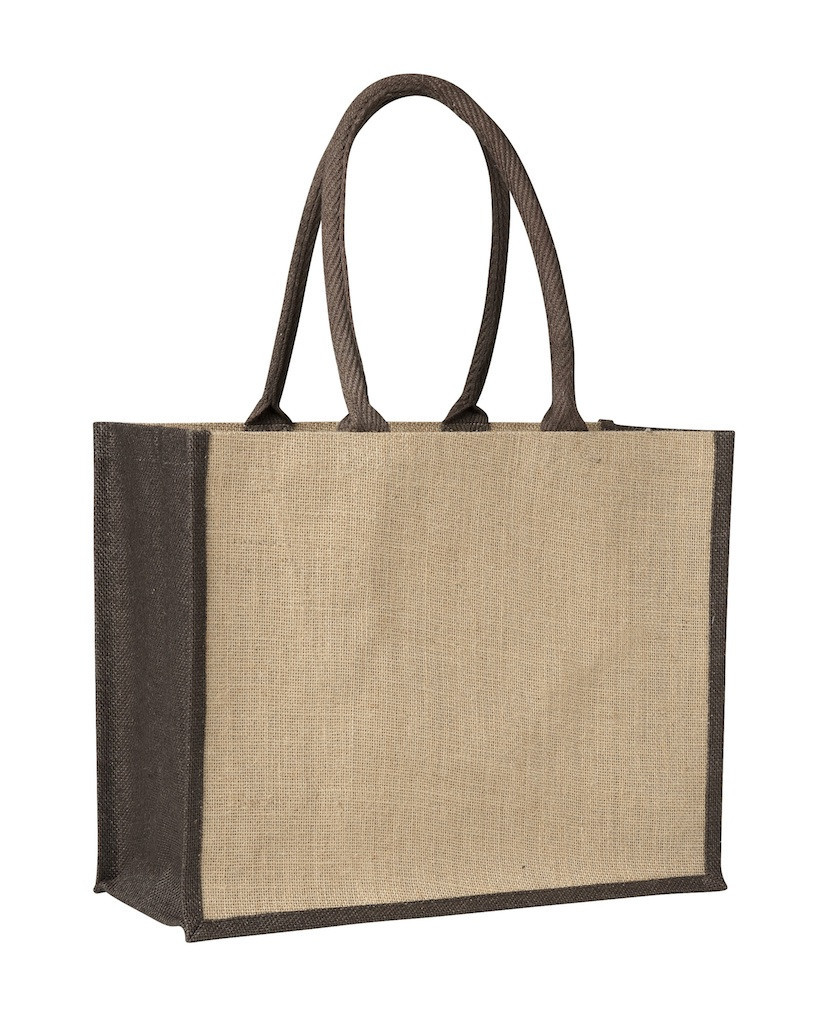 Laminated Jute Supermarket Bag with Black Handles and Gussets in Perth Australia