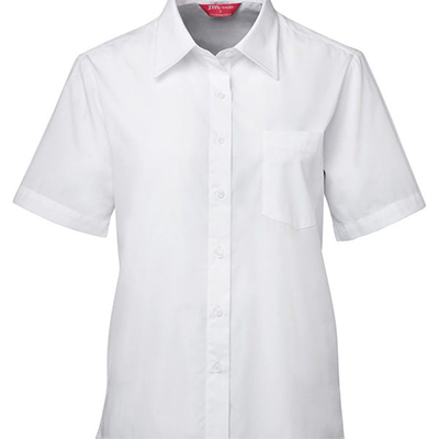 Printed White Ladies S/S Poplin Shirts in Australia