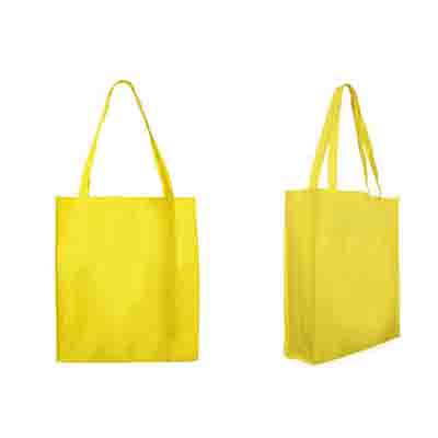 Printed Yellow Non Woven Large Tote Bag with Gusset Online in Perth