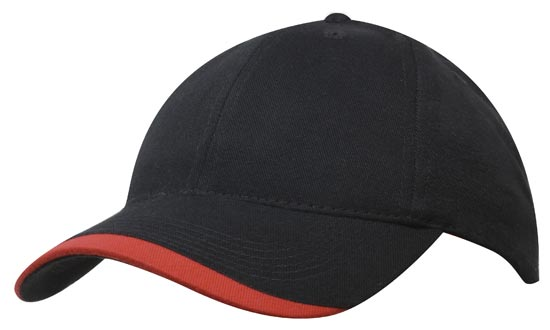 Promotional Black Brushed Heavy Sports Twill Caps in Australia