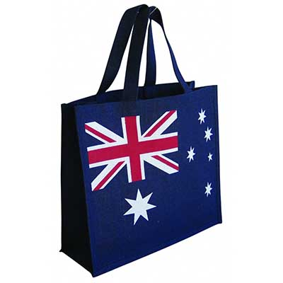 Custom Printed Jute Australian Flag Bag in Perth Australia