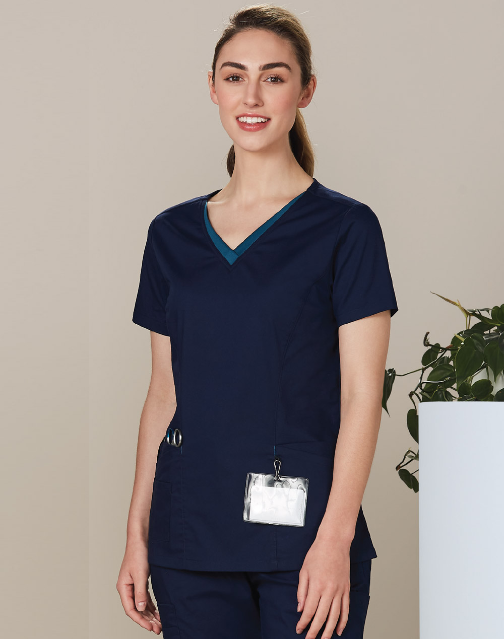 Promotional Ladies v-Neck Contrast Trim Scrub Top in Perth