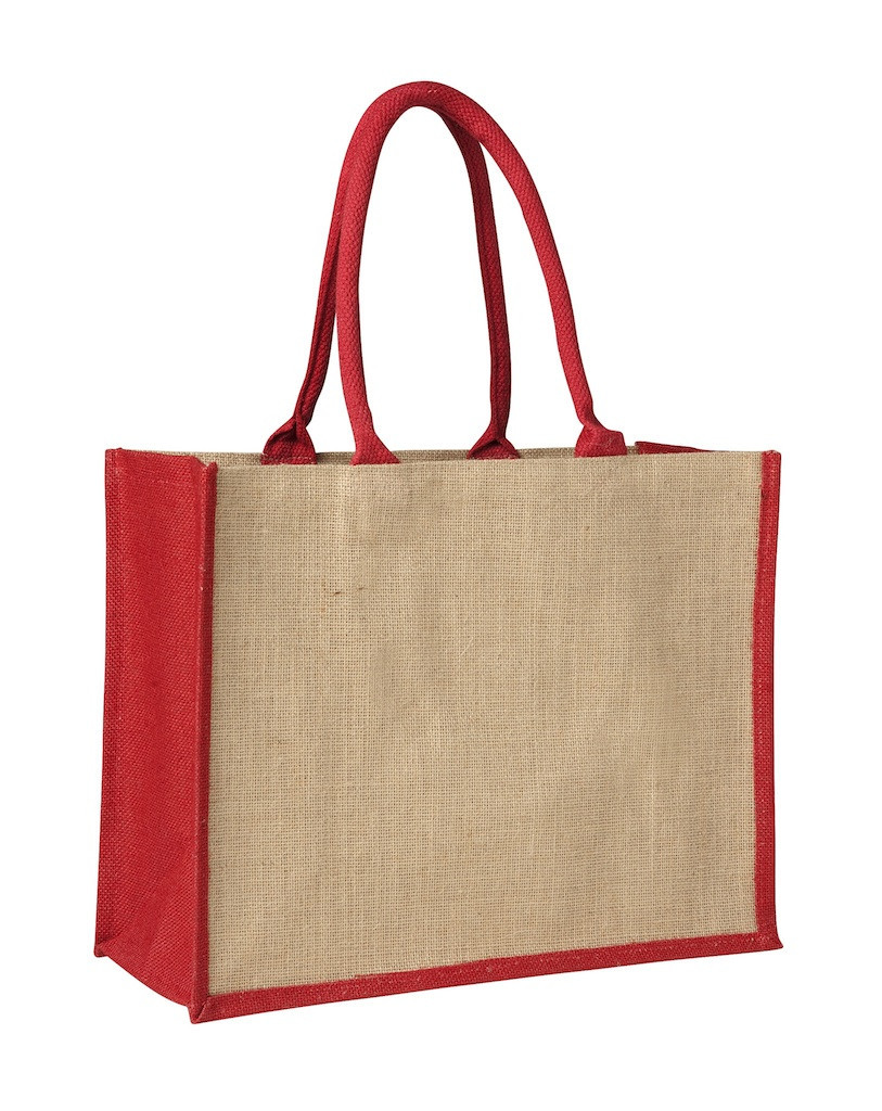 Promotional Laminated Jute Supermarket Bag with Red Handles and Gussets in Perth, Australia