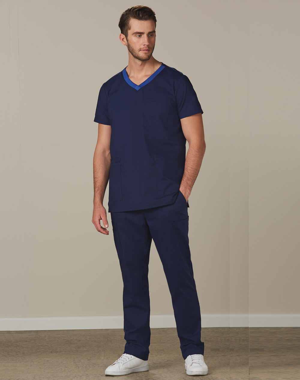 Promotional Mens Semi-Elastic Waist Tie Solid Colour Scrub Pants Online in Perth