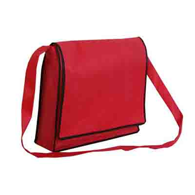 Promotional Red Non Woven Flap Satchel in Perth, Australia