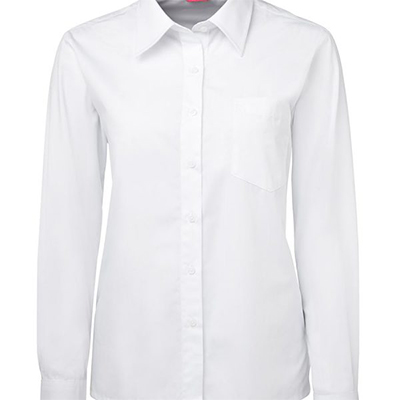 Promotional White Ladies L/S Poplin Shirts in Perth