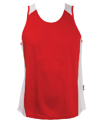 Buy Custom Red White OC Mens Basketball Singlets in Australia